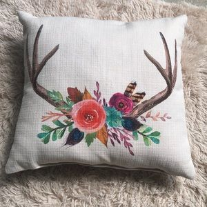 Accent Pillow Antlers Flowers Boho Chic